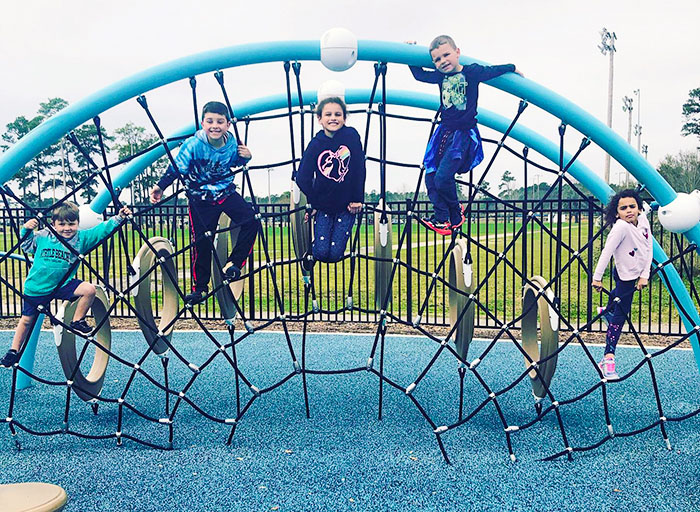 Kids at playground in Market Common